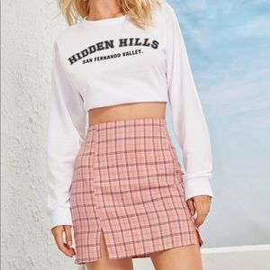 Plaid High-Rise Mini Skirt